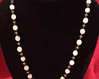 Frosted White and Red Glass Bead Necklace
