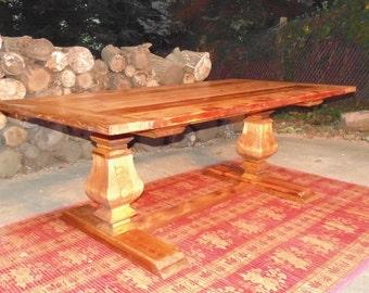 Carroll Dining Table  Trestle Urn  Farmhouse  Reclaimed Wood  Custom   Handcrafted Reclaimed wood urn   Etsy. Farmhouse Dining Table Made In Usa. Home Design Ideas
