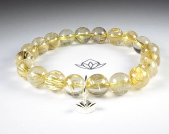 A Grade Gold Rutilated Quartz 10mm Beads Stretch Bracelet with Sterling Silver Charm ref: 160019