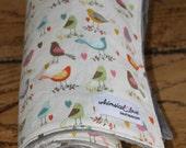 Minky Baby Blanket - Multi Birds w/ Grey Minky