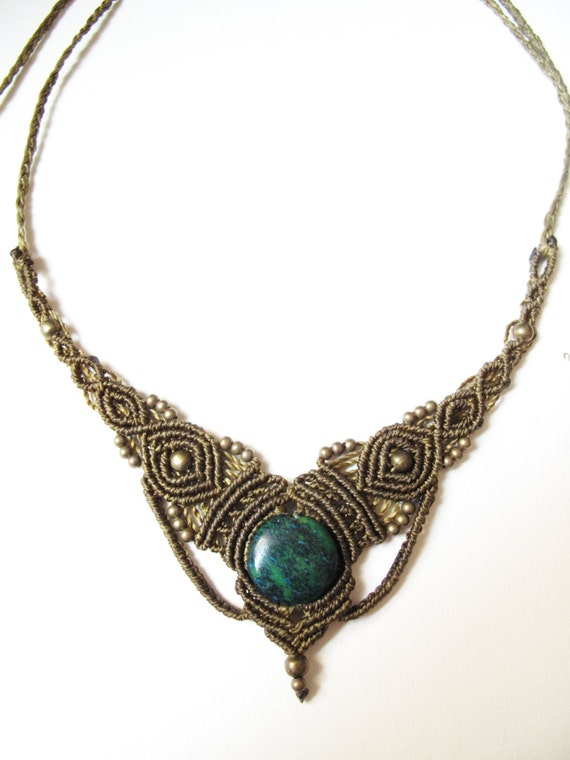 macrame necklace with crhisocolla gemstone by