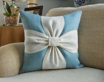 Burlap bow pillow cover in aqua blue, white and natural burlap 18x18