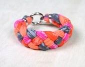 Orange Pink Gray, Braided Bracelet, Spring Jewelry, Summer Jewelry, Braided Bracelets, Fabric Bracelet, Spring Jewelry, Spring Fashion