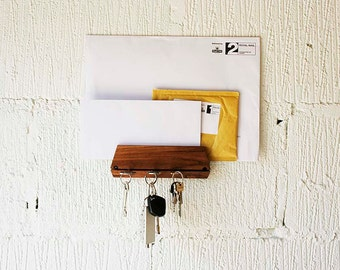 Key Holder For Wall and Mail Holder Handmade from Oak Key Hook and Mail Oraganizer