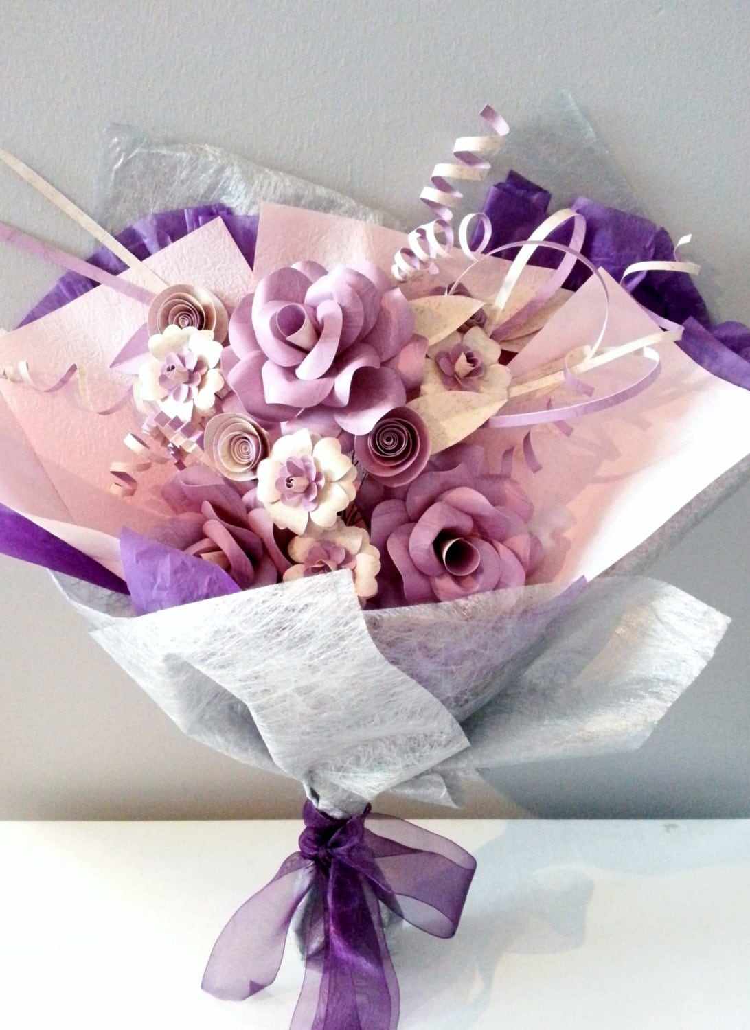 large paper flower bouquet in gift wrap beige by favcreations