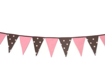 Girls Bunting, flag banner, pennant banner, nursery decor, baby girl - Pink and brown