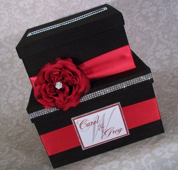 wedding card box black and red ready to ship by ilalouisedesigns