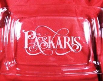 "Personalized Last Name 9""x13"" Pyrex Baking Dish with lid"