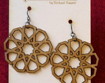 Laser-cut Nine-Pointed Star Pattern Earrings