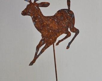 "11"" x 9 1/2""  Rusted Metal Black Tail Deer on a 25"" stake"