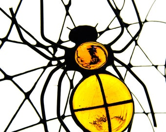 BIG spider with net stained glass bug beetle suncatcher home decor yellow Halloween decor