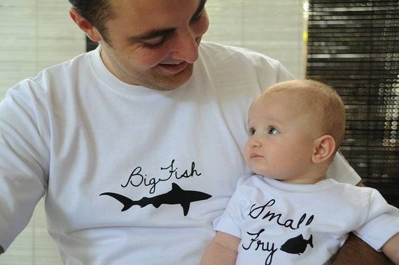 Matching Father and Child t-shirt set. Big Fish and Small Fry. White cotton t-shirts with free international delivery.