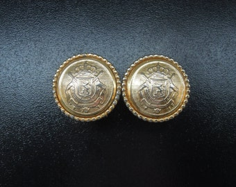 """3/4"""" (19mm) Gold Coat of Arms Military Shield Plugs"""