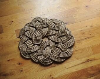 Rope Wreath - Kringle Knot - Nautical Decor - Small Rope Rug - Manila Rope Mat - (18 inch Diameter)