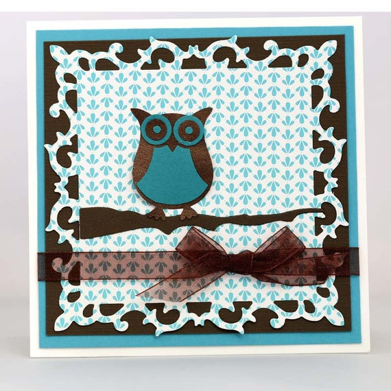 Owl Thank You Card, Handmade Greeting Card, Chocolate Brown and Blue Patterne...