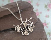 Silver Family Tree Necklace, Mothers Day Gift Idea for Her, Childrens Initials, Personalised Mothers Gift Idea, Tree Pendant,Family Initials