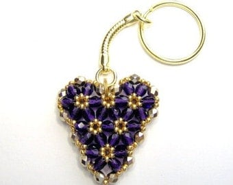 Purple and gold heart keyring, heart keychain, beaded keyring, beadwork keyring, stocking stuffer, anniversary gift, valentine gift