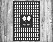 Star Wars Wedding Guest Poster with 150 Guest Millennium Falcons - Modern Wedding Guest Book Print