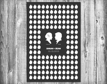 Star Wars Wedding Guest Poster with 150 Guest Millennium Falcons - Modern Wedding Guest Book Print