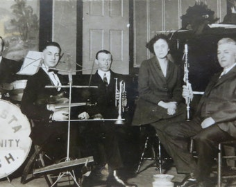 Vintage 1920's Augusta, ILL Community Orchestra Band Snapshot Photo - Free Shipping