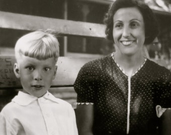 Goofy 1940's Cross Eyed Mother And Son Snapshot Photo - Free Shipping