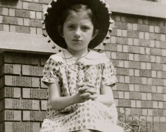 1934 Adorable Little Girl With Bonnet Poses On Front Porch Snapshot Photograph - Free Shipping