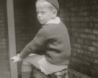 Original 1940's Birthday Boy Gets A New Tricycle Snapshot Photo - Free Shipping