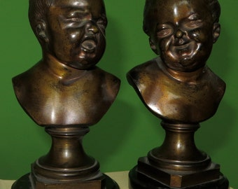 "Pair 19th Century Bronze Laughing & Crying Babies By Franz Xaver Messerschmidt - 8"" Tall"