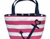 Heart Anchor Tote (Navy on Hot Pink)