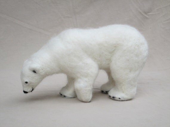 Needle Felted Polar Bear Christmas Decoration, Custom