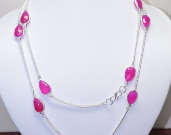 925 Silver Long Necklace-Deep Pink Chalcedony Briolette Beaded Long Necklace-13 Beads