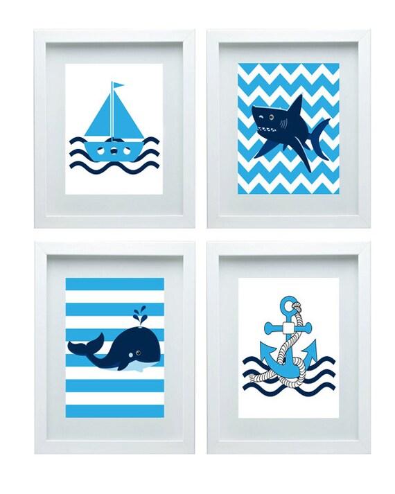 nautical decor nursery art beach anchor boat shark whale. Black Bedroom Furniture Sets. Home Design Ideas