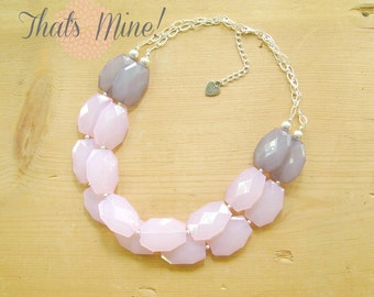 Blush Pink and Grey Necklace, Pink and Gray Statement necklace