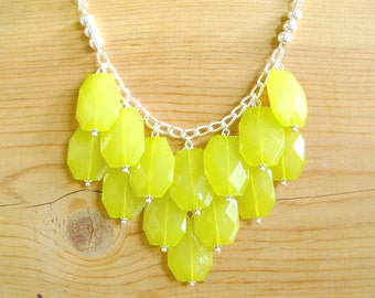 Neon yellow green bib statement necklace, Neon lime statement necklace