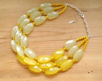 Ultimate Yellow Statement Necklace, Light and lemon yellow necklace multistrand
