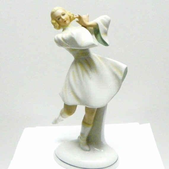 Vintage Skating Figure, Germany, Shau Bach Kunst, Porcelain, Bisque