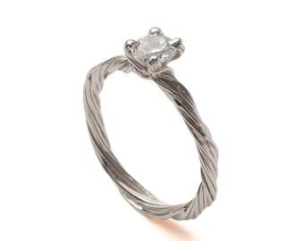 Twig Engagement Ring - 18K White Gold and Diamond engagement ring, unique engagement ring, leaf ring, filigree,antique,art nouveau,vintage,3