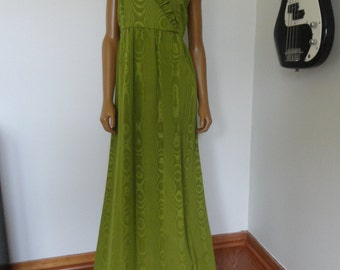 Vintage 1960s Maxi Gown Mod Dress Olive Green Ruffled with Illusion Print / S/ M