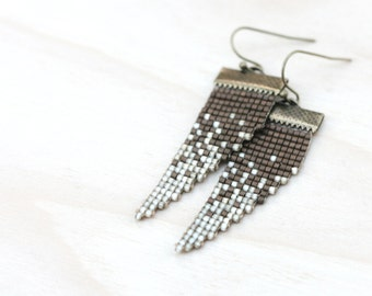 ivory field // loom beaded earrings // ivory and copper // ombre minimalist jewelry