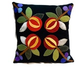 Pomegranate Fruit Appliqued Felted Wool Pillow with Plaid Wool Backing Size 14 x 14 - BeaverheadTreasures