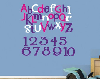 ALPHABET NUMBERS Wall Decal Reusable