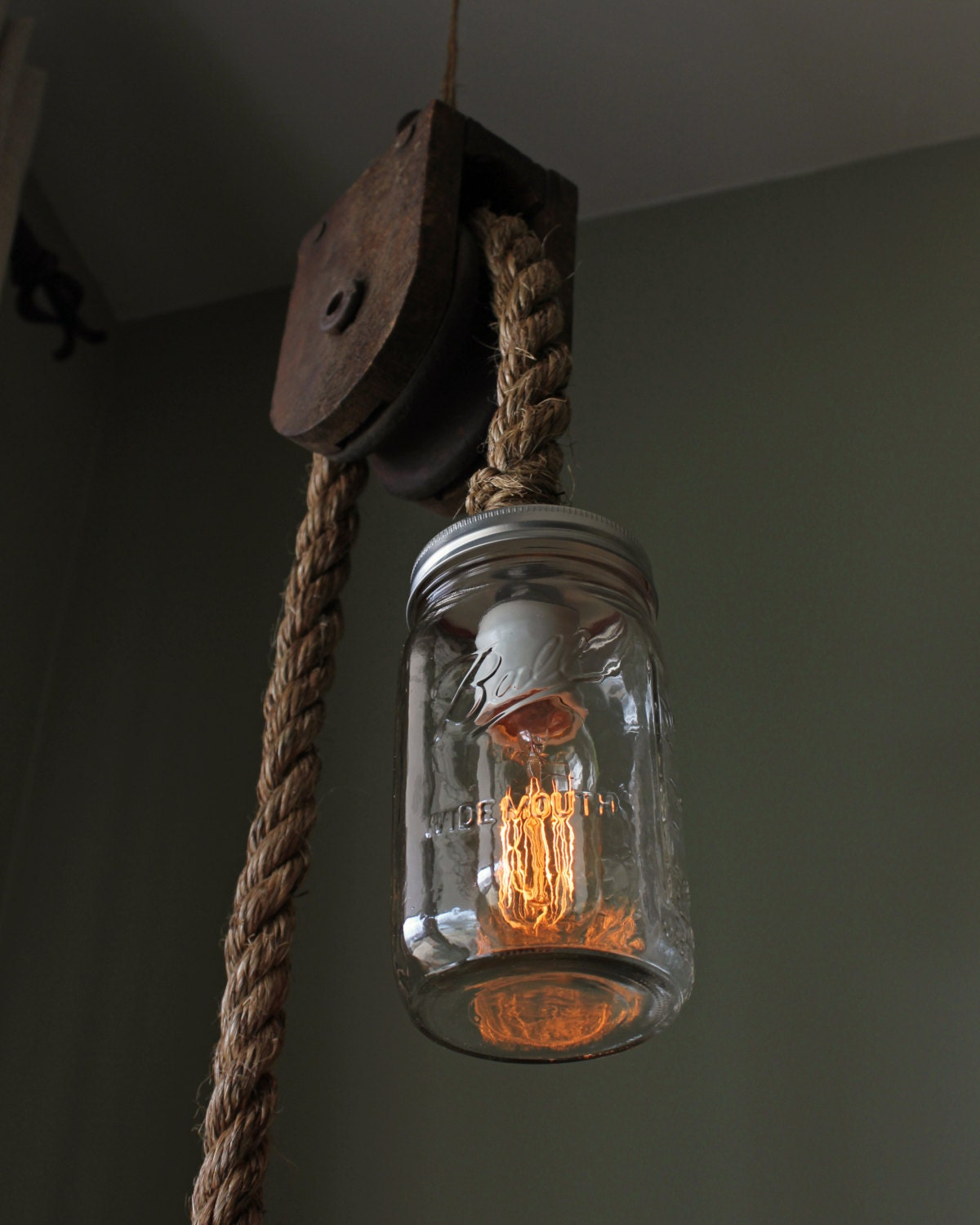 Edison Bulb Chandelier Mason Jar Lighting Mason By: Rustic Ball Mason Jar Pulley Lamp Light W/ Edison Bulb Barn