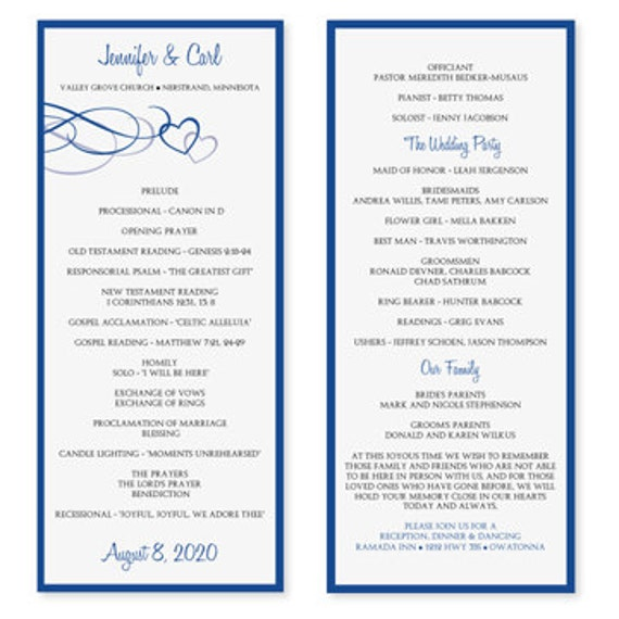 Wedding program template download instantly by karmakweddings for Free wedding program templates word