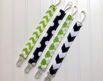 Pacifier or Toy Clip - Navy Blue and Lime Universal Pacifier Clip with plastic clip - Soothie Clip, Pacifier Holder, Pacifier clip, Binky