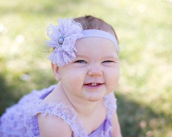 Baby headbands, baby girl headbands, Lavender lace flower headband, newborn girl headbands, girl headband, infant headbands, flower headband