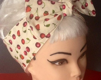 Hair Big BOW Headband  CHERRIES STRAWBERRIES  Pinup Vintage Retro Style 50s Rockabilly Head Wrap Scarf Bandana
