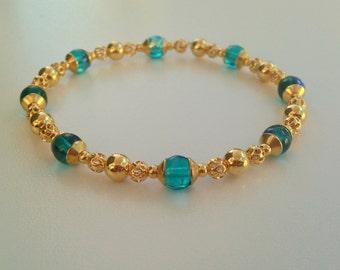 Iridescent Tiffany Blue & Gold Filigree Bead Bracelet
