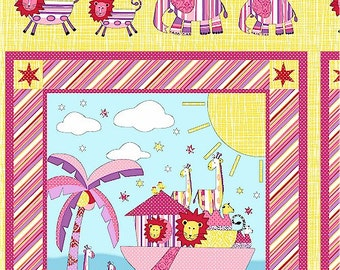 SUPER CLEARANCE!  - One Panel Two By Two - Noah's Ark Panel in Pink Cotton Quilt Fabric - by Whistler Studios  - Windham Fabrics (W294)