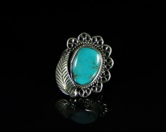 Turquoise Ring Sterling Silver Handmade Size 7.5, R0174