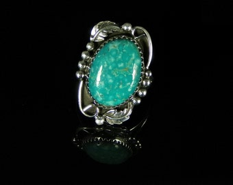 Natural Turquoise Ring Sterling Silver Handmade Size 7.0, R093
